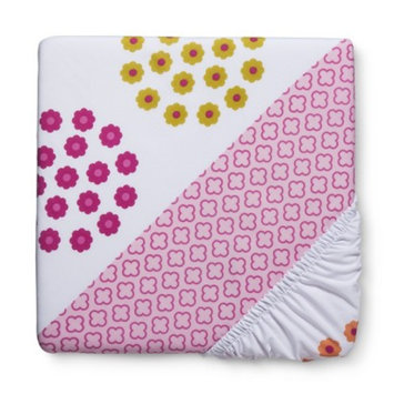 Duo Print Pink Floral Fitted Crib Sheet by Circo