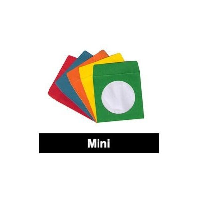 Checkoutstore 1000 Assorted Color Mini Paper CD Sleeves with Window & Flap