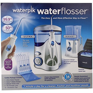 Waterpik Water Flosser, Nano Flosser, Deluxe Traveler Case, Tip Storage Case and 12 Accessory Tips Combo Pack