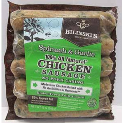 Bilinski's: Spinach & Garlic Chicken Sausage 12 Oz. (8 Pack Case)