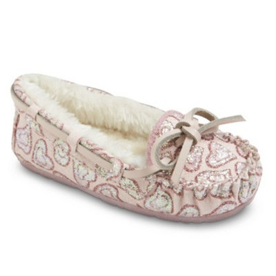 Dynasty Toddler Girl's Celina Moccasin Slippers - Pink XLRG