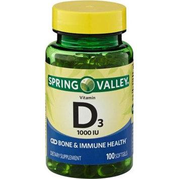 Spring Valley Vitamin D3 Supplement Softgels, 1000 IU, 100 count