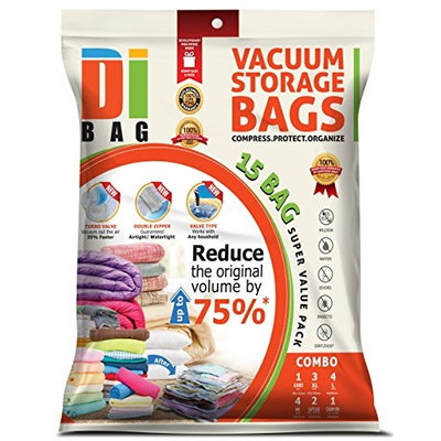 DIBAG® DIBAG ® Combo Set - 15 Bags Pack - Vacuum Storage Space Saver Bags. 1 Jumbo (48''X34.64'') + 3 XL (39.37''X26.37'')+ 4 Large (33.46''X21.25'') +4 Medium (22.44''X17.71'')+ 2 Suitcase Travel Roll-Up Bags (22.44''X17.71'') Without Suction+ 1 Carry-on Roll-up Bag (19.68''X13.38'') Without Suction. Improved Version 2016