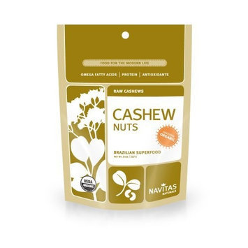 Navitas Naturals Organic Raw Cashew Whole Nuts, 8-Ounce Pouches (Pack of 3)