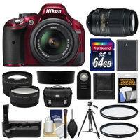 Nikon D5200 Digital SLR Camera & 18-55mm G VR DX AF-S Zoom Lens (Red) with 55-300mm VR Lens + 64GB Card + Case + Grip & Battery + Tripod + Tele/Wide Lenses + Filters Kit