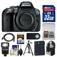 Nikon D5300 Digital SLR Camera Body (Grey) with 32GB Card + Backpack + Flash + Battery + Tripod + Remote Kit