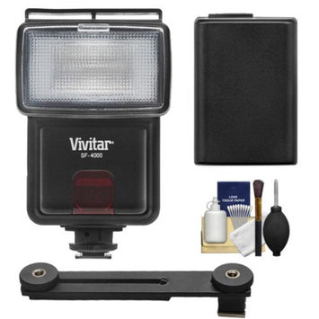 Vivitar SF-4000 Auto Bounce Zoom Slave Flash with Bracket + NP-FW50 Battery + Cleaning Kit for Sony Alpha A7, A7R, A3000, A5000, A6000, NEX-3N, 5T, 6, 7 Digital Cameras