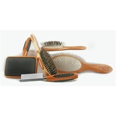 Bass Brushes Small Slicker Style Pet Brush with Bamboo Wood Handle and Rubber Grips