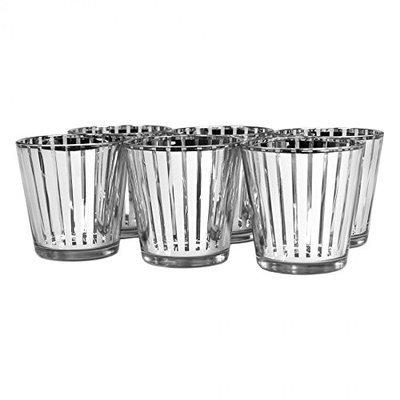 Koyal Wholesale Striped Glass Votive Cup (Set of 6), Silver, 3 H x 2.75 W x 2.75 D