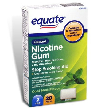 Equate - Nicotine Polacrilex Gum 2 mg, Coated, Cool Mint Flavor, 20 Pieces