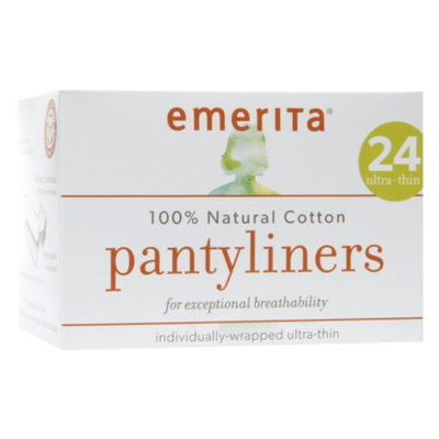 Emerita Cotton Ultra-Thin Pantyliners, individually wrapped, 24 ea