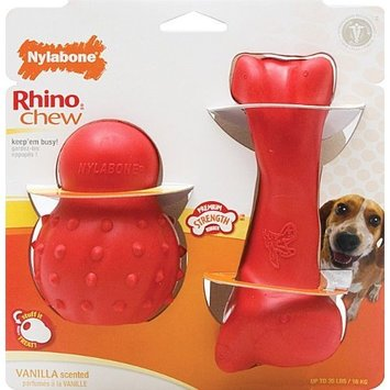 Nylabone Rhino Cone and Rhino Bone Chew Toy Value Pack, Wolf