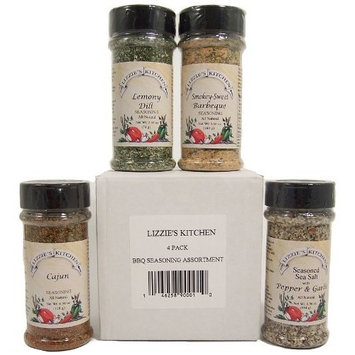 Lizzie's Kitchen Bbq Seasonings Sampler, 1.7-Pound Boxes (Pack of 4)