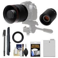 Vivitar 500mm f/6.3 Mirror Lens with 2x Teleconverter (=1000mm) + LP-E8 Battery + Monopod + Accessory Kit for Canon EOS Rebel for Rebel T3i, T4i, T5i Digital SLR Cameras