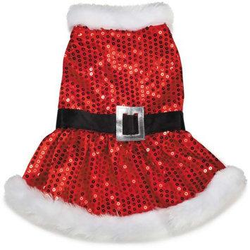 Pet Edge Dealer Services ZandZ Mrs Claus Sequin Dog Dress Medium