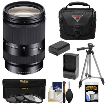 Sony Alpha E-Mount E 18-200mm f/3.5-6.3 LE OSS Zoom Lens with Case + 3 Filters + Tripod + NP-FW50 Battery & Charger Kit for A7, A7R, A7S, A3000, A5000, A5100, A6000 Cameras