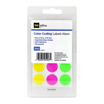 DG Office Color Coded Labels - Neon, 300 ct