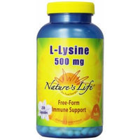 Nature's Life L-Lysine Capsules, 500 Mg, 250 Count