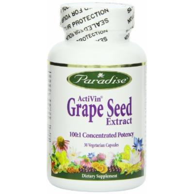 Paradise Herbs Vegetarian Capsules, Activin Grape Seed with Amla, 30 Count