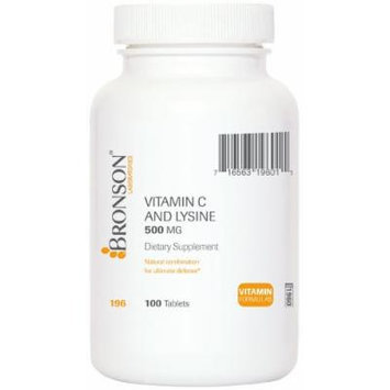 Bronson Labs: Vitamin C 500mg and Lysine 500mg 100 Tablets