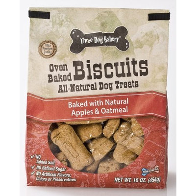 Three Dog Bakery Biscuits Apple Oatmeal, Baked Dog Treats, 16-Ounce