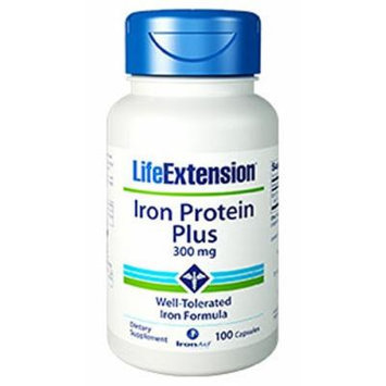 Life Extension Iron Protein Plus 300mg Capsule, 100-Count