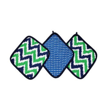 Bacati - MixNMatch Navy/Green Zigzag 3 pc Wash Cloths