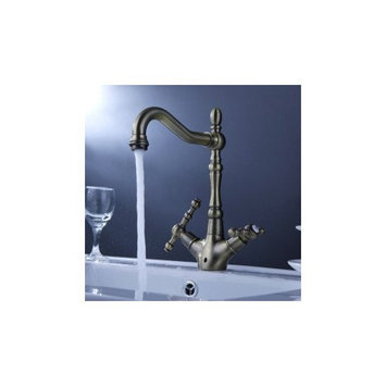 MAX Antique Inspired Solid Brass Kitchen Faucet (Antique Brass Finish)