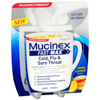 Mucinex Fast-Max Cold, Flu & Sore Throat Packets, Honey Lemon, 8 ea