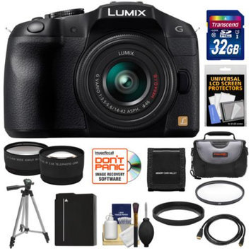 Panasonic Lumix DMC-G6 Micro Four Thirds Digital Camera with G Vario 14-42mm Lens (Black) with 32GB Card + Battery + Case + Tripod + Filter + Tele & Wide Lenses + Accessory Kit