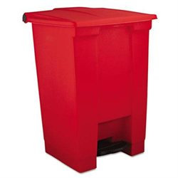 Rubbermaid Commercial RCP6144RED Step-On Waste Container, Square, Plastic, 12 Gallon, Red