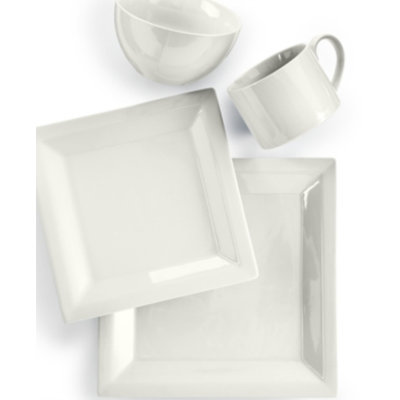 Martha Stewart Collection Harlow Talc White Square 4-Piece Place Setting
