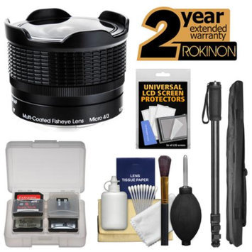 Rokinon 9mm f/8.0 RMC Fisheye Lens with 2 Year Ext. Warranty + Monopod Kit for Olympus OM-D, PEN & Panasonic Micro 4/3 Digital Camera