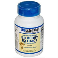 Certified European Bilberry Extract, 100 mg 100 vegetarian capsules