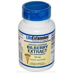 Certified European Bilberry Extract, 100 mg 100 vegetarian capsules
