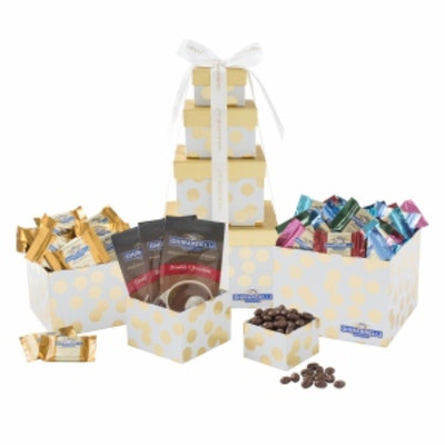 Ghirardelli Gold Polka Dot Four Stack Tower, 1 ea