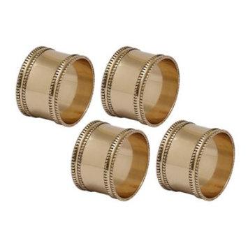 Cc Home Furnishings Set of 4 Decorative Antique Gold Finished Band Napkin Rings