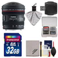 Canon EF 8-15mm f/4.0 L USM Fisheye Zoom Lens with 32GB SD Card + Kit for EOS 6D, 70D, 5D Mark II III, Rebel T3, T3i, T4i, T5, T5i, SL1 DSLR Cameras