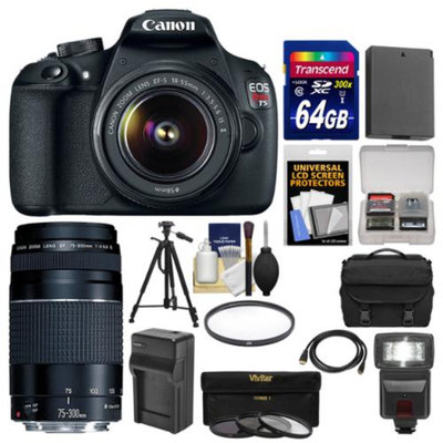 Canon EOS Rebel T5 Digital SLR Camera Body & EF-S 18-55mm IS II with 75-300mm III Lens + 64GB Card + Case + Flash + Battery + Tripod + Kit