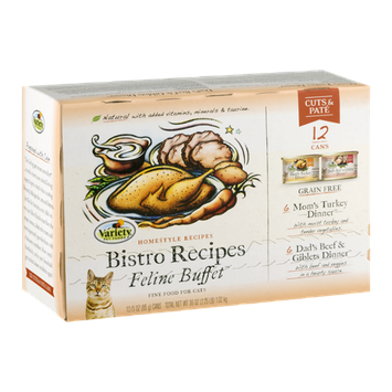 Variety Pet Foods Bistro Recipes Feline Buffet Fine Food For Cats - 12 CT