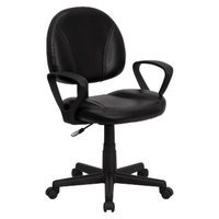 Office Chair: Belnick Mid-Back Ergonomic Leather Chair - Black