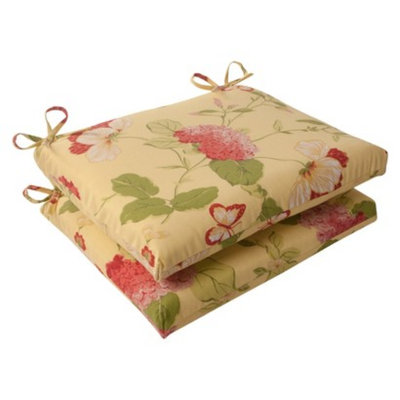 Pillow Perfect Outdoor 2-Piece Square Seat Cushion Set - Yellow/Red Floral