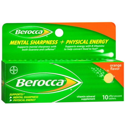 Berocca Mental Sharpness + Physical Energy Orange Flavor Tablets - 10