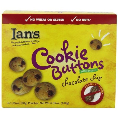 Ian's Natural Foods Gluten Free Recipe Chocolate Chip Buttons, 6-Count Pouches (Pack of 6)