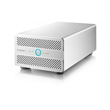 Akitio 2-Bay Thunder3 Duo Pro Enclosure without Drives, 40GB/s Transfer Speed, Non-RAID, SPAN, RAID 0 Striping, RAID 1 Mirroring