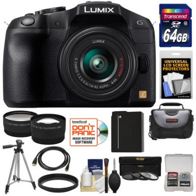 Panasonic Lumix DMC-G6 Micro Four Thirds Digital Camera with G Vario 14-42mm Lens (Black) with 64GB Card + Battery + Case + Tripod + 3 UV/ND8/PL Filters + Tele & Wide Lenses + Accessory Kit