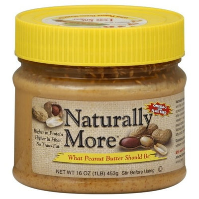 Naturally More, Peanut Butter with Omega-3 & Flax Seed, 16oz Jar (Pack of 3)