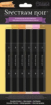 Crafters Companion SPECN-SKIN Spectrum Noir Alcohol Markers 6-Pkg-Pale Hues