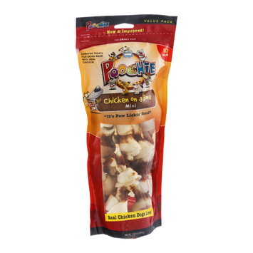 Poochie Chicken on a Bone Mini Rawhide Treats for Dogs - 10 CT