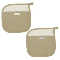 MU Kitchen 100% Cotton Herringbone Potholder Set of 2 - Flax Tan